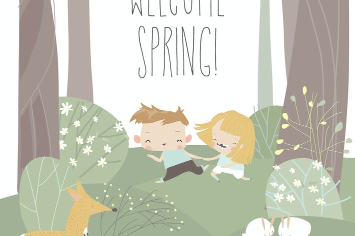 Thumbnail for Cartoon happy children run in spring blossom fores
