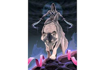 Wahl zwischen zwei Pfaden. Fantasy-Illustration