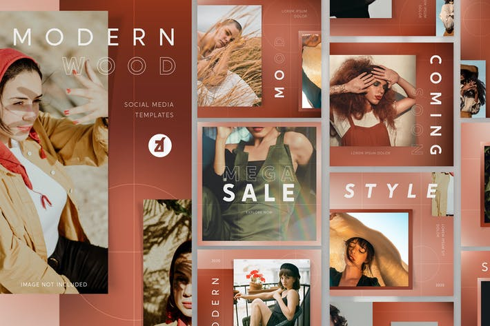 Thumbnail for Modern wood social media graphic templates