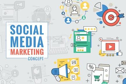 Social Media Marketing Concept Color Line