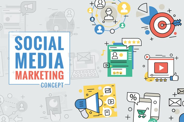 Cover Image For Social Media Marketing Concept Color Line