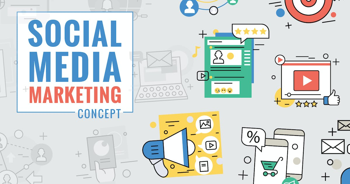 Social Media Marketing Concept Color Line by iconsoul