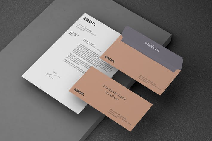 Thumbnail for Branding Mockup with A4 Paper and Envelope