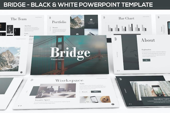 bridge black white powerpoint presentation