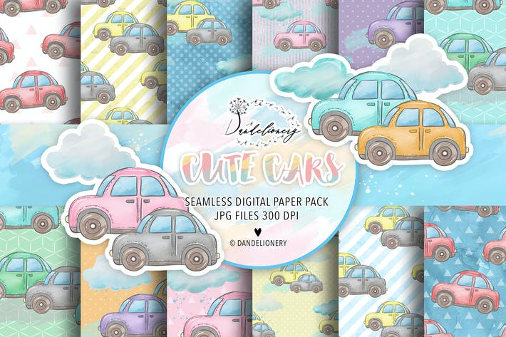 Thumbnail for Cute Cars digital paper pack