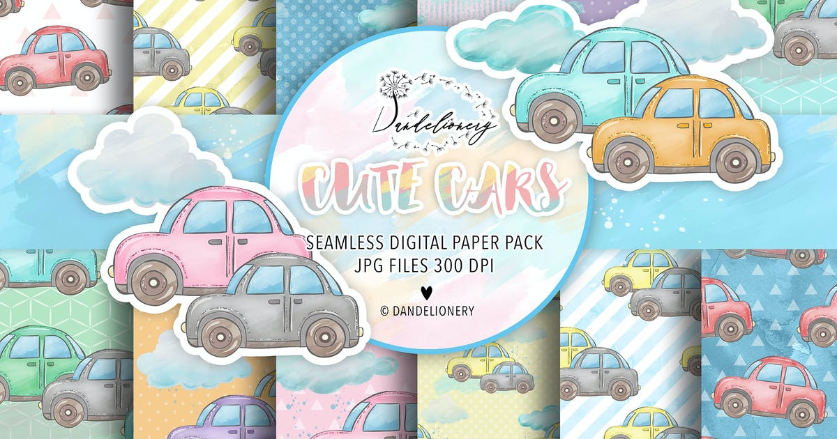 Download Cute Cars digital paper pack by designloverstudio