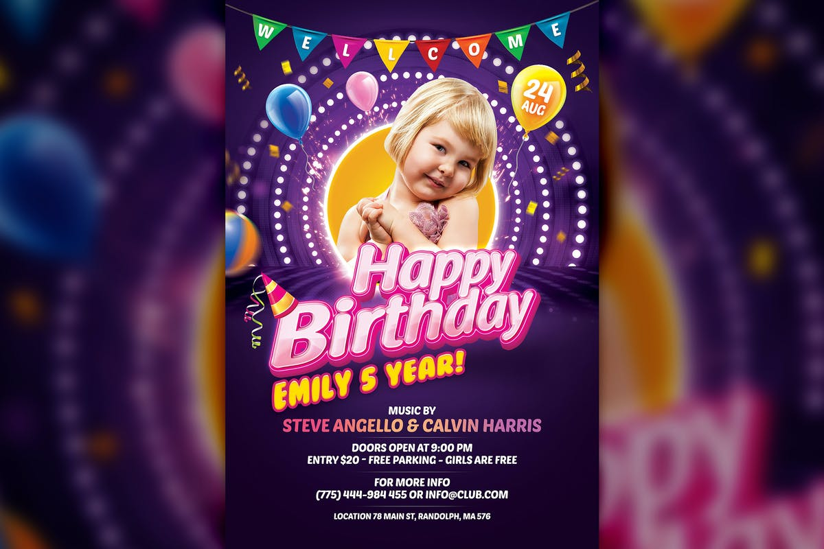 Download Kids Birthday Flyer Template by HyperPix by Unknow