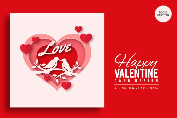 Thumbnail for Paper Art Valentine Square Vector Card Vol.4