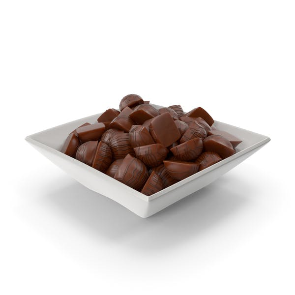 Square Bowl with Mini Chocolate Candies