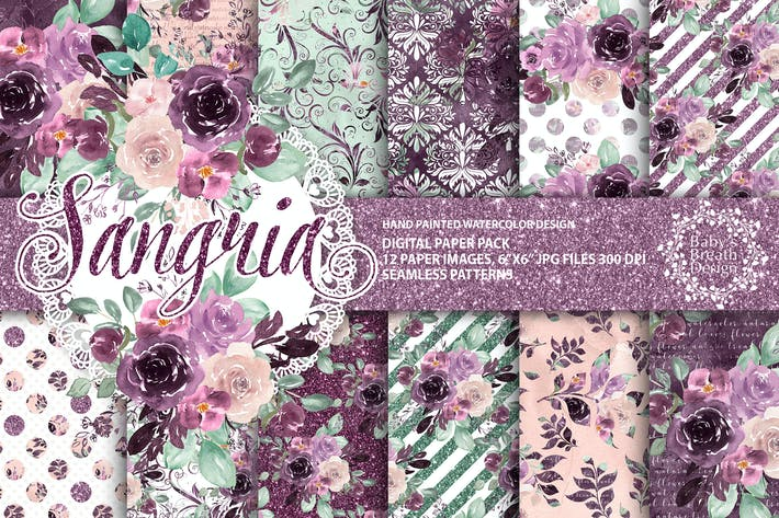 Thumbnail for Sangria digital paper pack