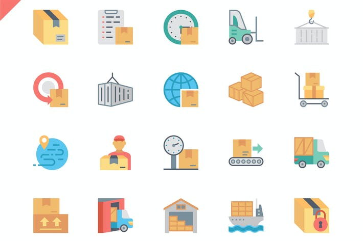 Thumbnail for Simple Set Package Delivery Flat Icons