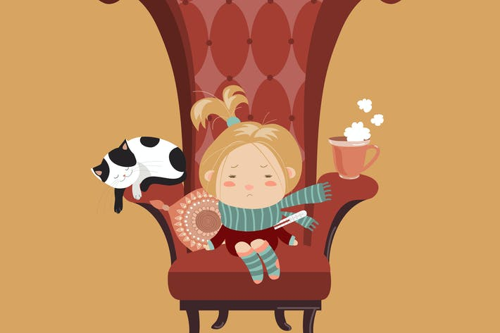 Thumbnail for Cute girl sick cold sitting in the big chair.