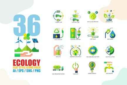 Ökologie flache Stil-Icon-Set