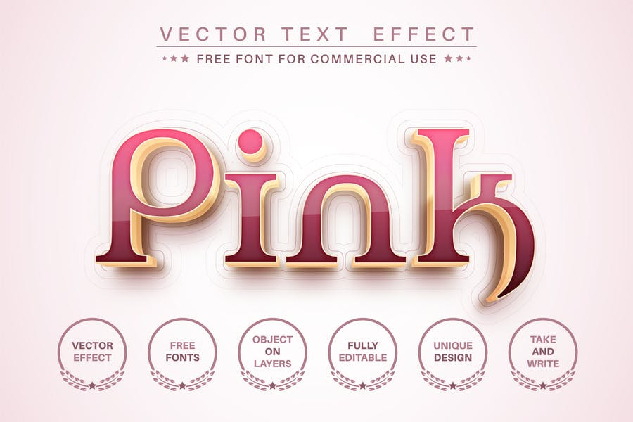 Pink gold - editable text effect,  font style.