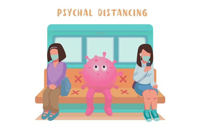 Thumbnail for Physcial Distancing Flache IllustrationsVorlage