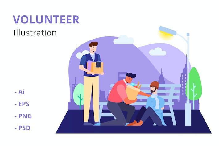 Ilustración de voluntarios