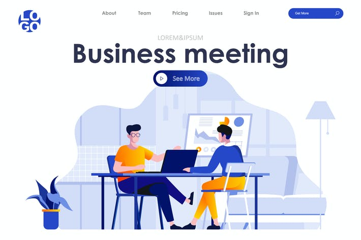 Thumbnail for Business Meeting Landing Page Flat Concept
