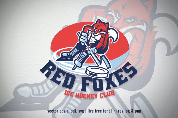 Thumbnail for red fox ice hockey mascot logo