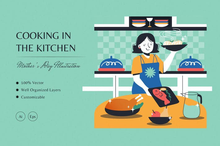 Cooking in the Kitchen Illustration