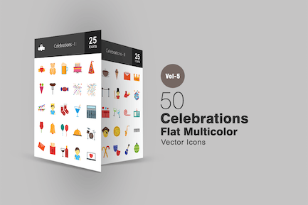 50 Celebrations Flat Multicolor Icons