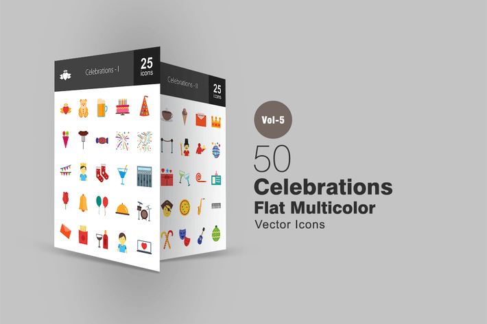 Thumbnail for 50 Celebrations Flat Multicolor Icons