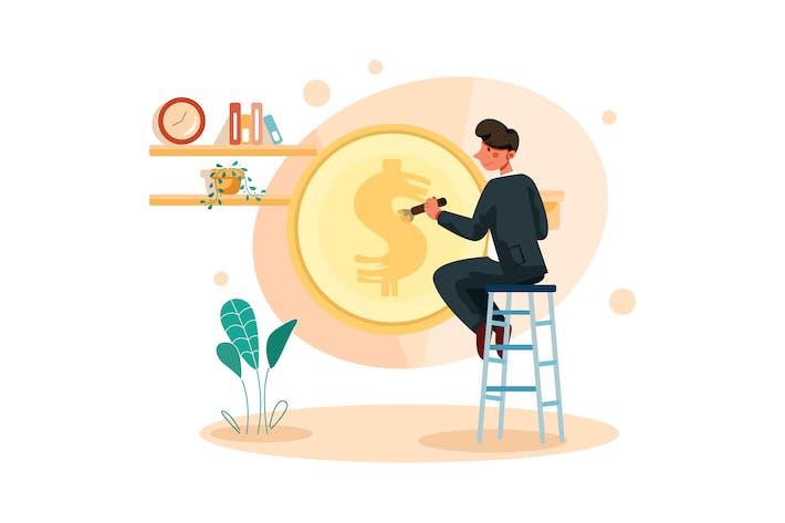 Thumbnail for Geschäftsmann malt Dollarzeichen auf Münze