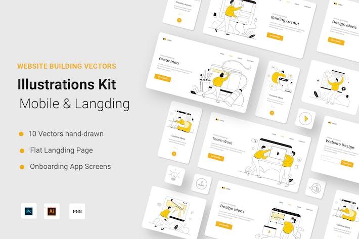 Buiding Сайт Иллюстрация Kit