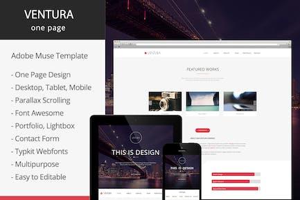 Вентура - Параллакс одна страница Adobe Muse Шаблон