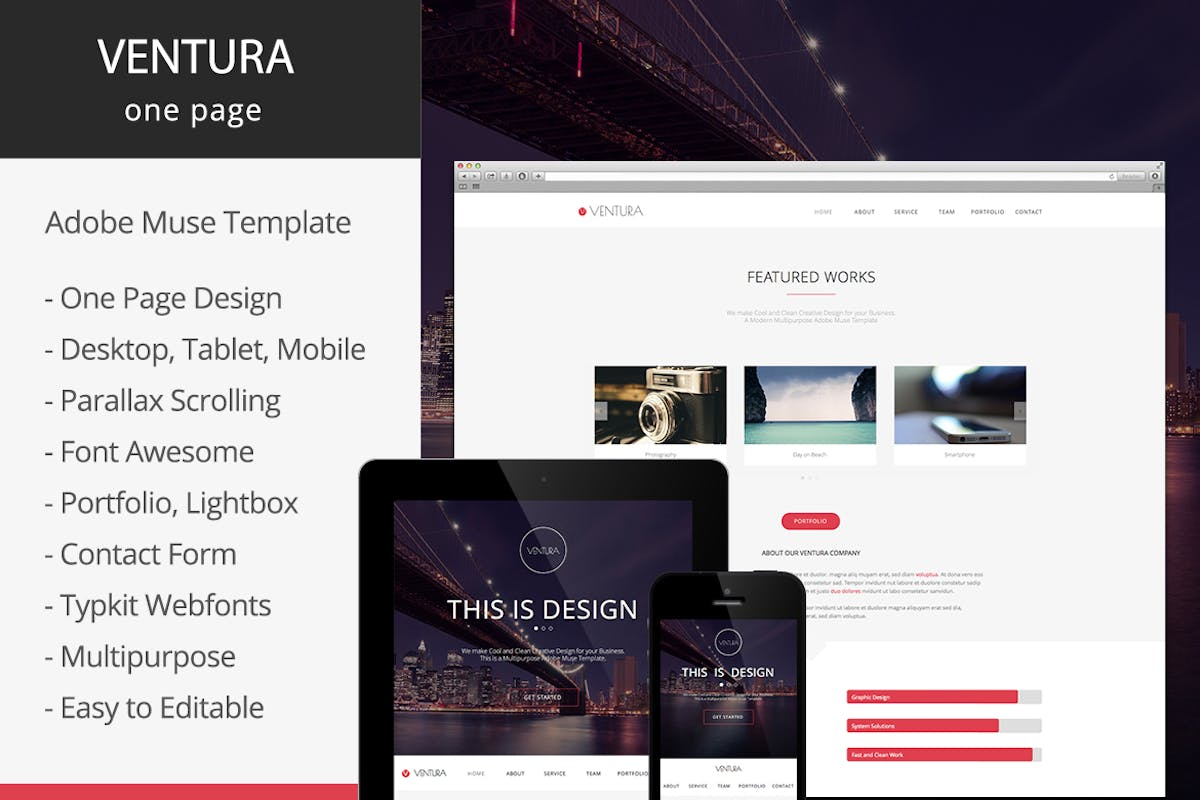 Ventura Parallax One Page Adobe Muse Template By Museframe On