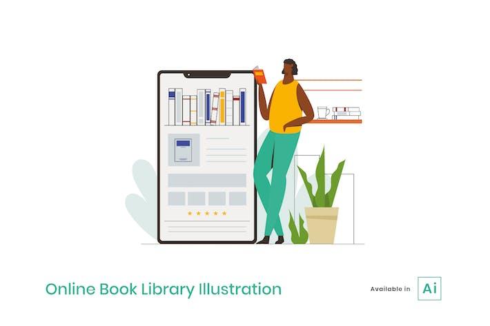 Ilustración de la biblioteca de libros en línea
