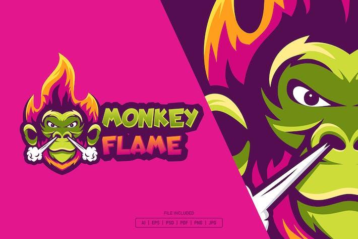 Monkey flame esport logo template