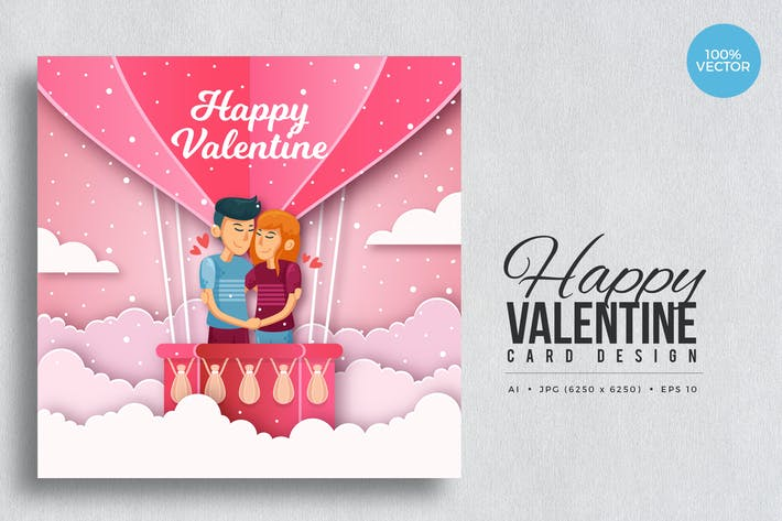 Thumbnail for Paper Art Valentine Square Vector Card Vol.8