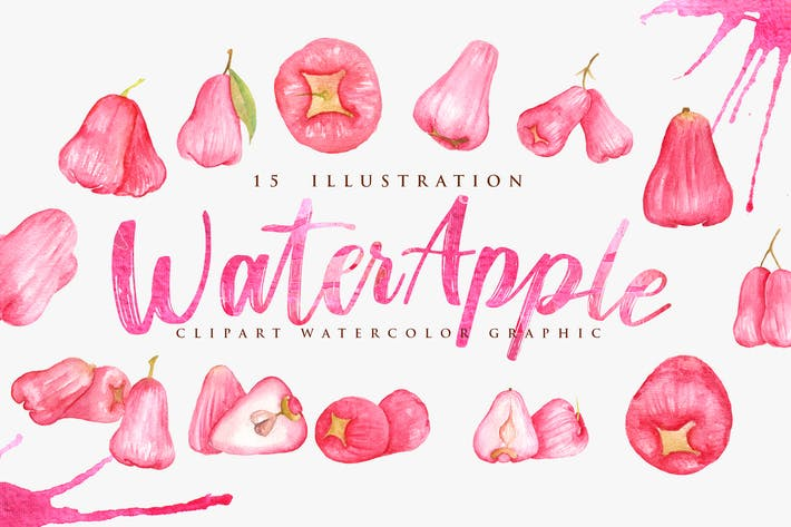 Thumbnail for 15 Watercolor Red Water Apple Illustration