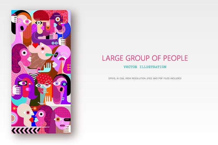 Thumbnail for Large group of people vector graphic illustration
