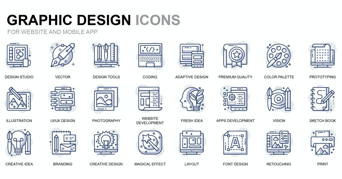 Download Graphic Design Thin Line Icons by alexdndz
