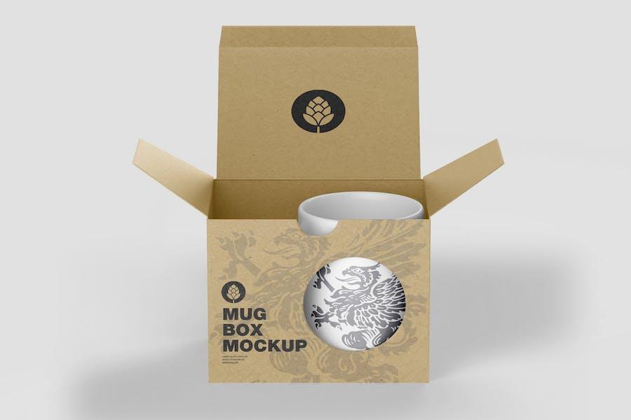Cardboard Box with Mug Mockup