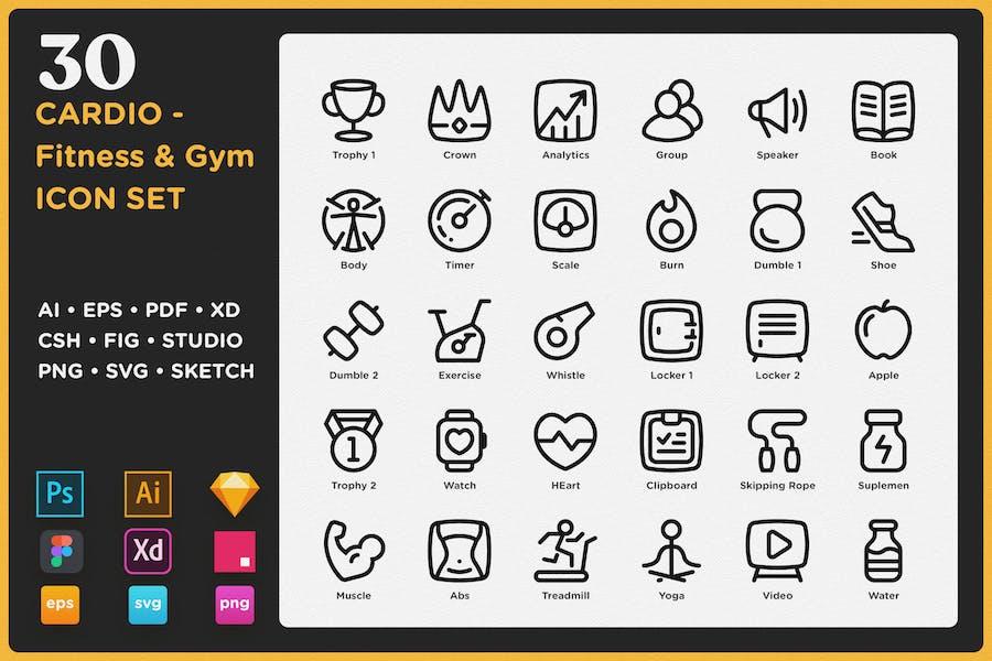 CARDIO - Conjunto de iconos de fitness y gimnasio