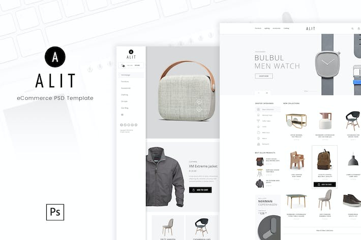Thumbnail for Alit - Minimalist eCommerce PSD Template