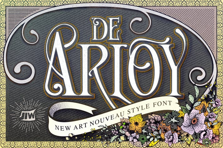 Thumbnail for De Arloy Typeface | New Art Nouveau Style