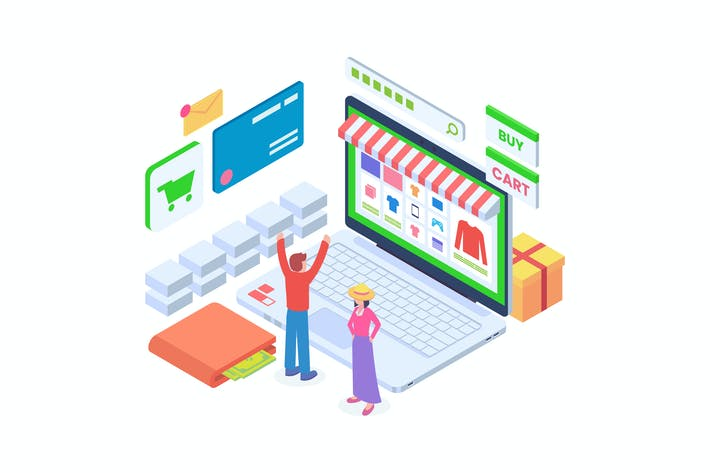 Thumbnail for Ecommerce Online Shop Isometric Vector