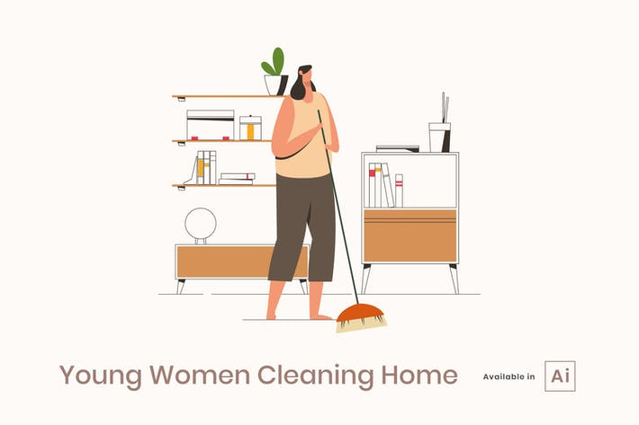 Thumbnail for Young Women Cleaning Home
