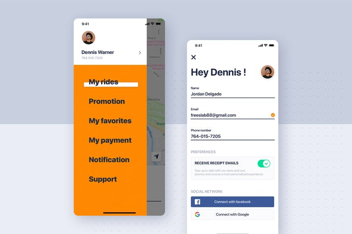 Thumbnail for Car rental mobile UI Kit - My profile & menu