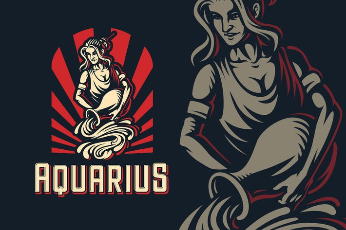 Thumbnail for Aquarius Zodiac Sign Logo Template
