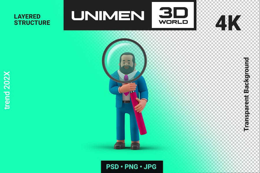 Businessman 3D Standing with Magnifier Glass
