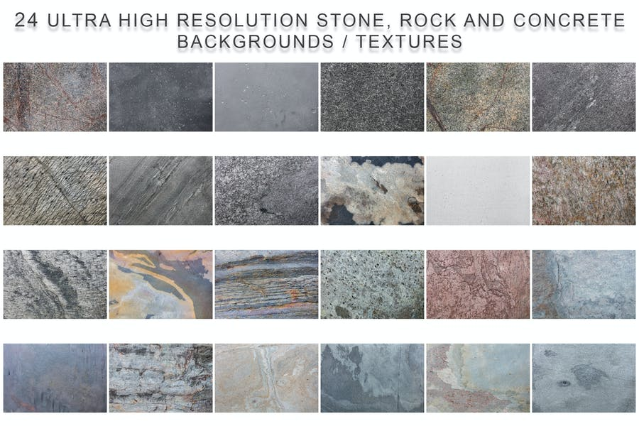 Collection of stone, rock and concrete textures.