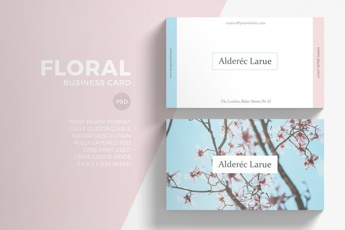 Thumbnail for Floral Minimal Business Card
