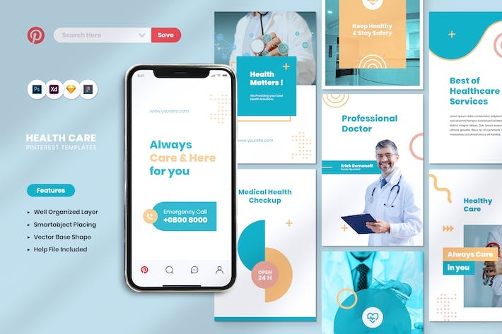 Thumbnail for Healthcare Service Pinterest Template