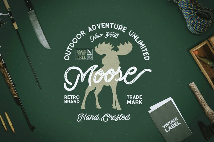 Thumbnail for Moose Vintage Logo Template / Label