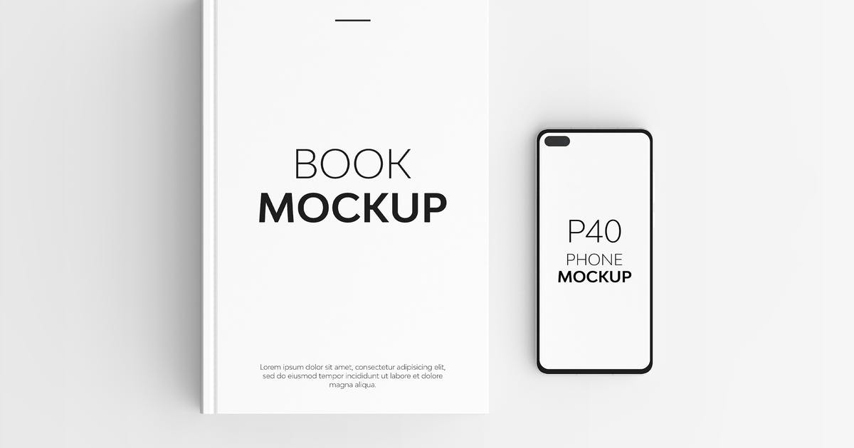Download Book & P40 Phone Mockup by UnicDesign