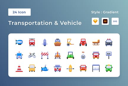 Transportation & Vehicle Gradient Icon Set
